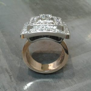 custom aztec ring design with diamonds