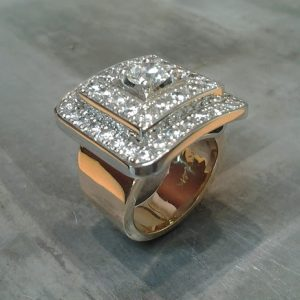 custom aztec ring design with diamonds top view