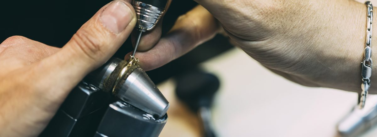 Ring being crafted by goldsmith