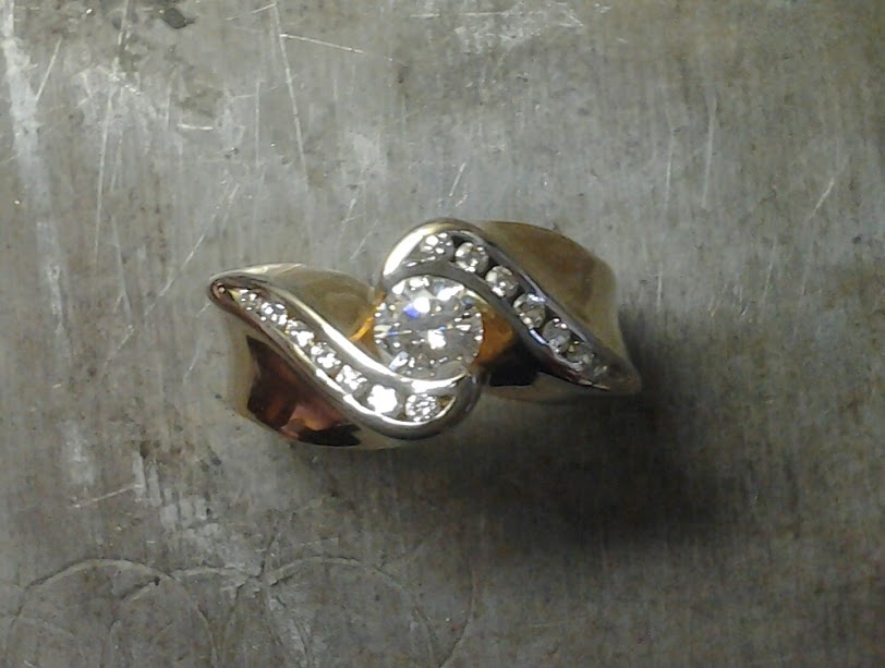 channel set engagement ring top view