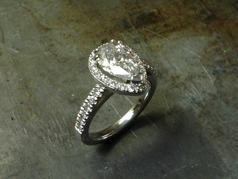 pear shape halo engagement ring