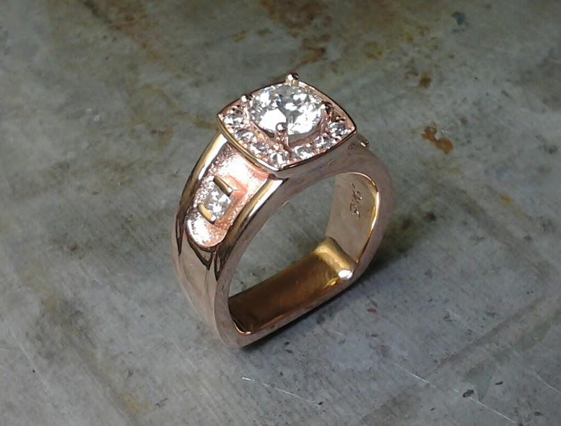 14k rose gold remake using customer stones flat shank
