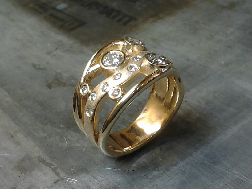 Custom Bezel & Gypsy set multi-ring yellow gold