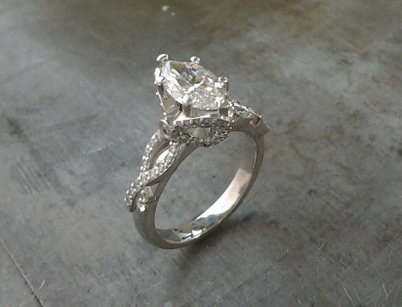 19k Marquee Bowtie Engagement Ring