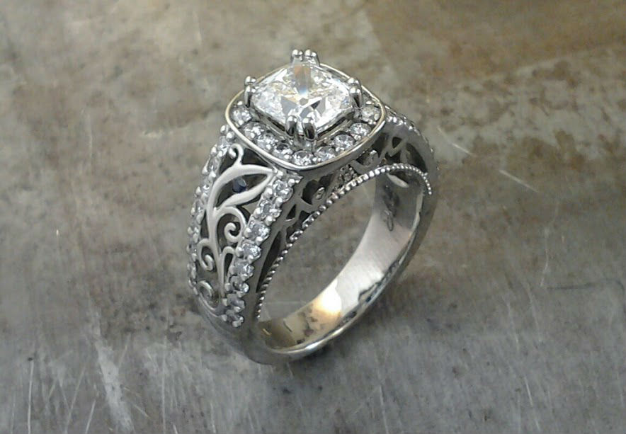 side view Cushion Cut 19k Halo Engagement Ring