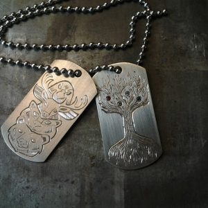Custom Engraved white gold Dog Tags. Spirit animals and Family Tree.