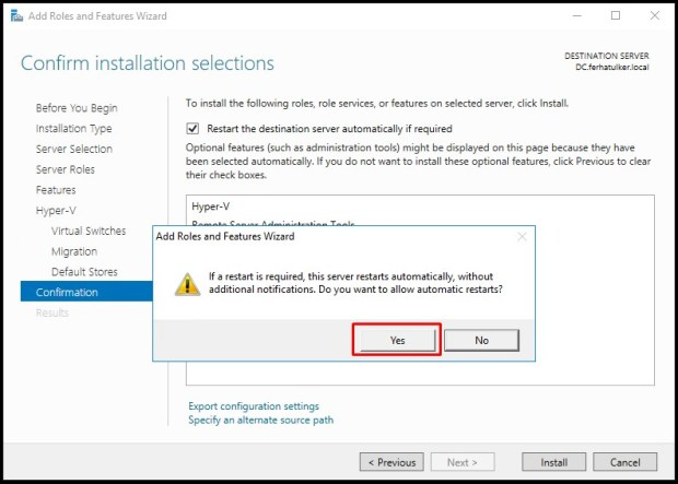 Windows Server 2016 Hyper-V Kurulumu ve İç İçe Sanallaştırma – Hyper-V Nested Virtualization