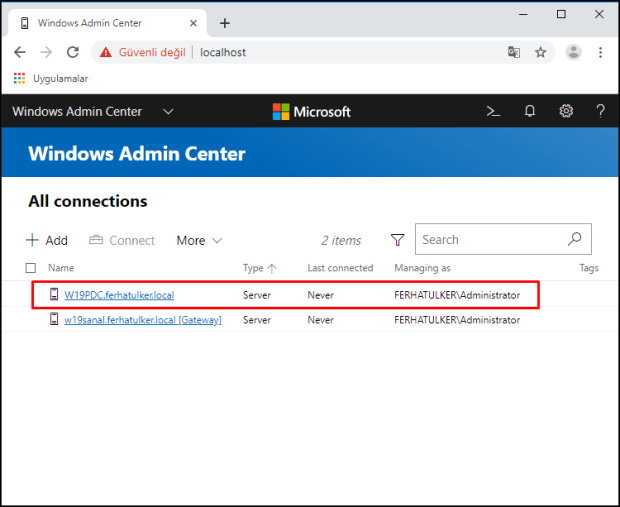 Windows Admin Center Yönetimi