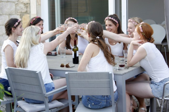 Gruppe junger Frauen stößt auf der Terrasse des Gartenhauses an.