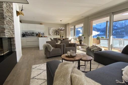 Wohnzimmer-Ferienwohnung-Alpenrose-Adelboden