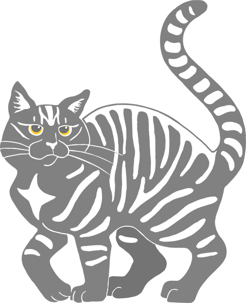 Gray Tabby Cat - transparent tiger stripe