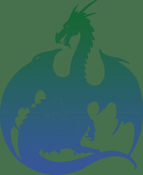 Dragon Silhouette - green blue