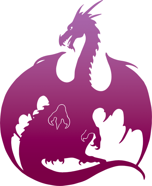 Dragon Silhouette - Pink Purple