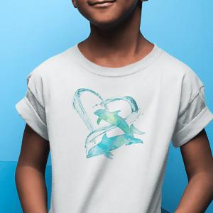 I Love Dolphins T-shirt - aqua