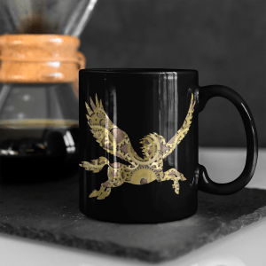 Clockwork Pegasus 11oz black mug