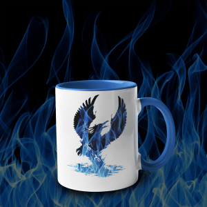 Blue Fire Phoenix Accent Mug