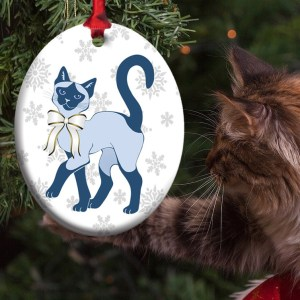 Blue Siamese Holiday Eco-Friendly Metal Ornament