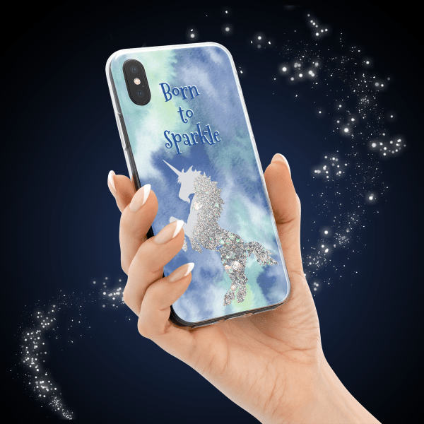 iPhone X Liquid Silver Glitter Blue Case