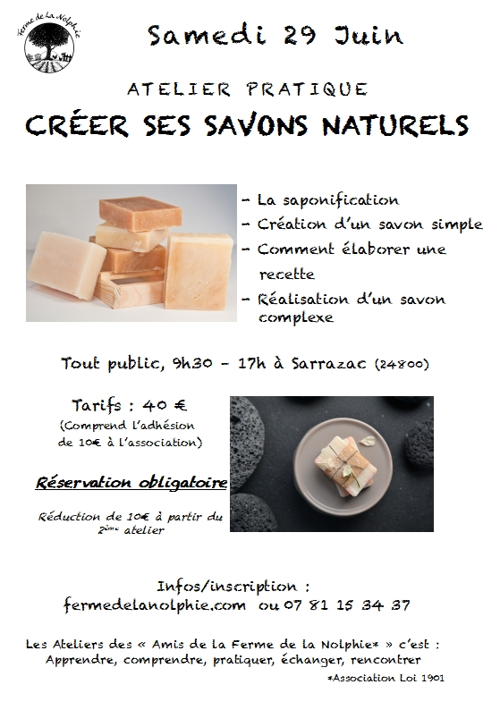 Atelier Savons naturels 29 juin 2019