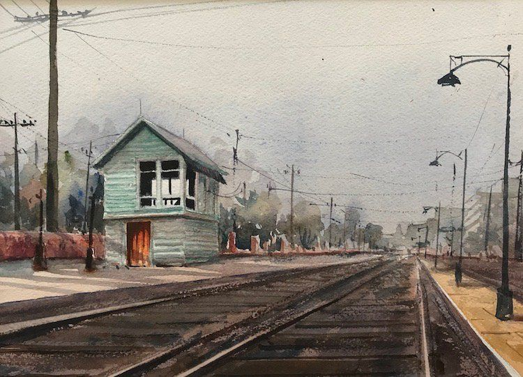 Arrêt de train d'aquarelle