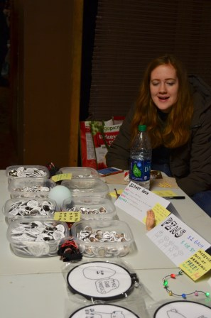 """Vendor, Sidney Gish sells her mom's embroidery and pins. """"I drew the egg and sent a picture of it to my mom and she did an embroidery of it,"""" Gish said. """"I study music industry so I actually drew the egg in my microeconomics class."""""""