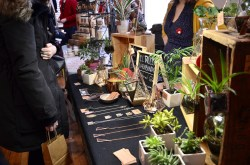 """""""I take apart old glass and solder it together,"""" Diana explains, on how she makes her hanging terrariums. """"I used to sell them in Argentina but then I got married and moved here. This is actually my first winter and I was so scared."""""""
