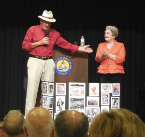 Wayne and Jane Sims tell stories to Peck Center audience.