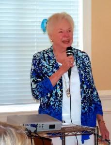 Marilyn Evans Jones welcomes audience members.
