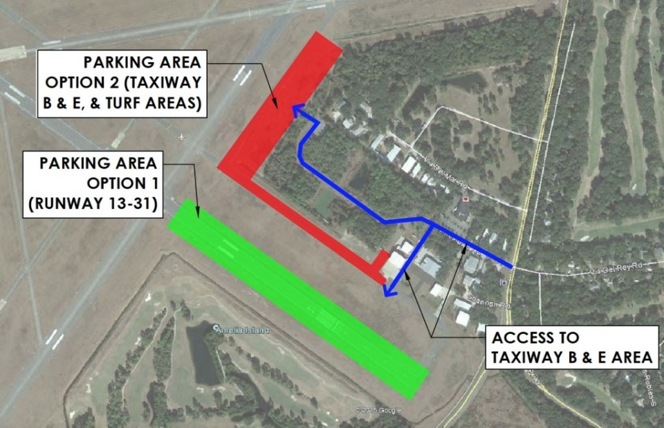 Passero diagram presenting possible options for parking car trailers at municipal airport