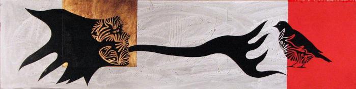 AGRESION, 2009, mixta DM, 120 x 50 cms.