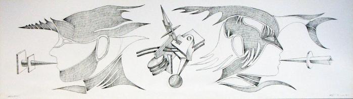 DESCONEXION, 2010, boligrafo papel, 70 x 20 cms.
