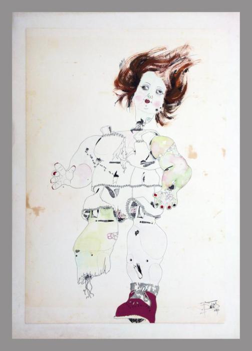 ATENTADO 1970, tinta china y mixta, papel, 50 x 65 cms.