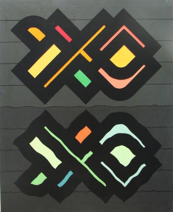 BLOQUE 1981, mixta, lienzo, 100 x 81 cms.