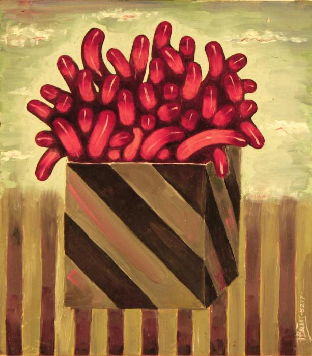 CAJA DE TRIPAS 1977, oleo, tabla, 19 x 21 cms.
