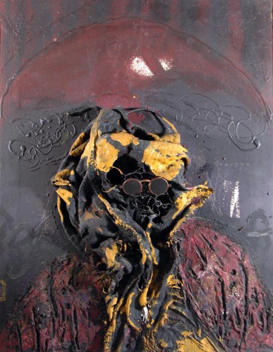 HOMENAJE A VALLE INCLAN 1970, mixta, arpillera, 70 x 90 cms.