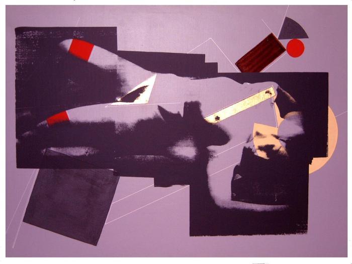 MERET 1 1988, mixta y serigrafia, lienzo, 130 x 90 cms.