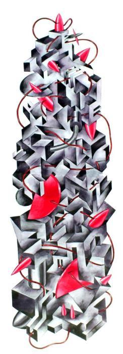 BABEL GRIS Y ROJA 2013, grafito y acuarela- 50 x 140 cms.