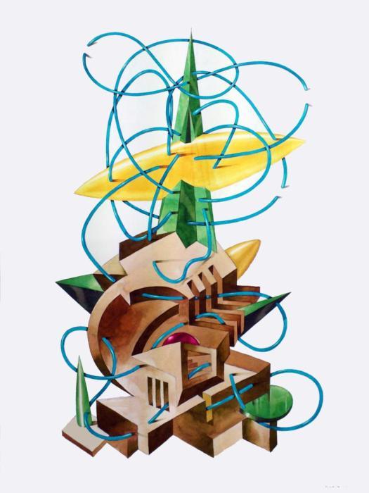 BABEL VERDE 2013,-acuarela, gouache y grafito. 50 x 70 cms.