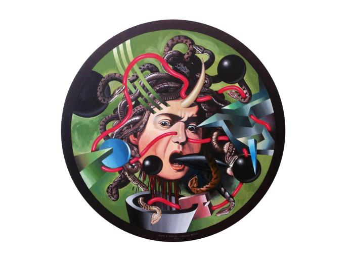 CABEZA DE MEDUSA 2012-13, acrilico, lienzo, 100 cms diametro