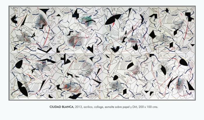 CIUDAD BLANCA 2013, mixta y serigafia, DM, 240 x120 cms