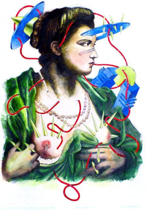 DAMA QUE DESCUBRE EL PECHO A TINTORETTO 2012, acuarela y grafito, papel, 50 x 72 cms.