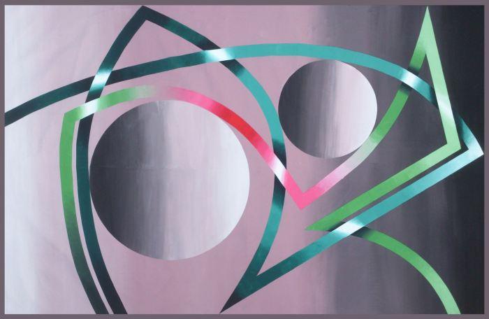 DISONANCIA ROJA 2014, acrilico, lienzo, 280 x 150 cms.