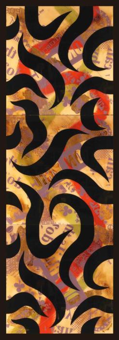 FUSION VERTICAL II 2006, mixta y serigrafia sobre Irosan y DM, 80 x 240 cms.