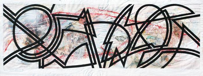 MOVIMIENTO 2014, acrilico y collage, papel, 100 x 40 cms. (19)