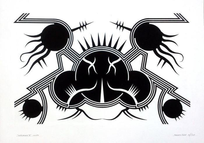RORSCHAC V, gouache papel 70 x 50 cms