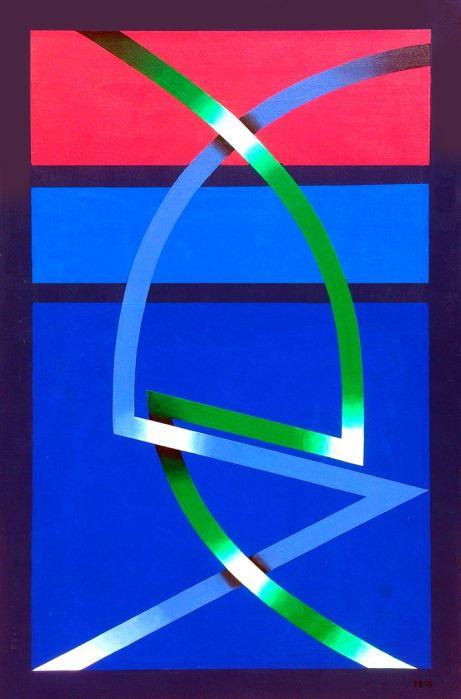 SEAGRAM AZUL 2015 acrilico, DM, 61 x 94 cms