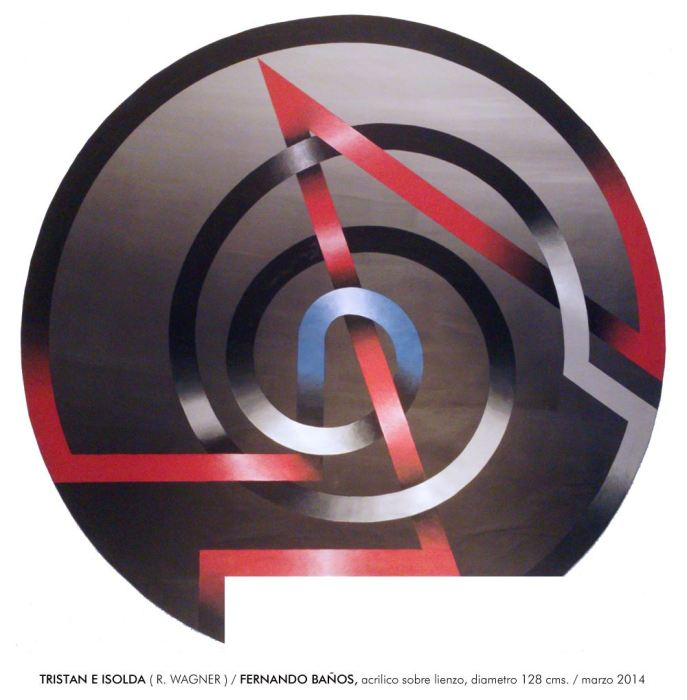 SERIE LACERIAS - TRISTAN E ISOLDA, 2014, acrilico, lienzo, 128 cms. diametro