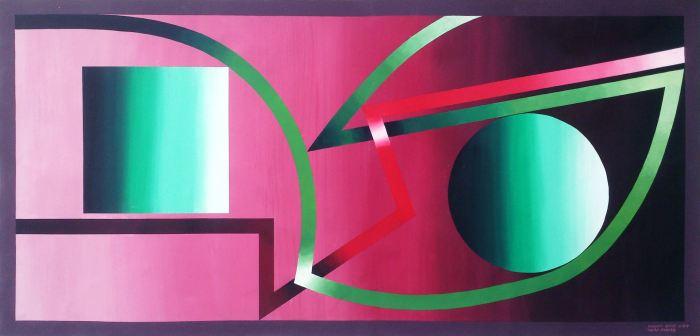 TEATRO D\'AMORE 2015, acrilico lienzo, 230 x 110 cms.