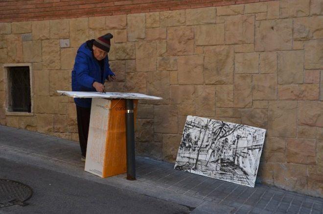 Ein Maler in Barcelonas Gassen
