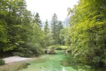 Fluss am See Bohinj in Slowenien - Tipp für eine Rundreise